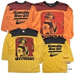"FREEWHEELERS フリーホイーラーズ No.2125021 4/5袖丈 フットボールTシャツ ""CANNABIS RUN OFF"""